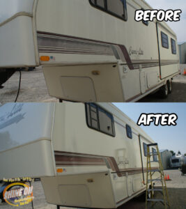 Carry-Lite Camper Before and After SHINE ON Application.