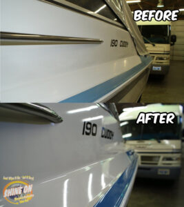 Cuddy Boat Before and After SHINE ON Application.