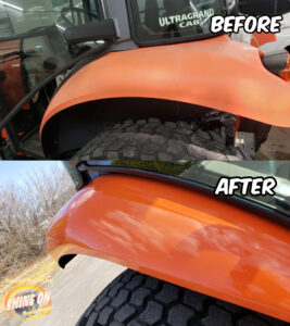 Tractor Fender Before and After SHINE ON Application