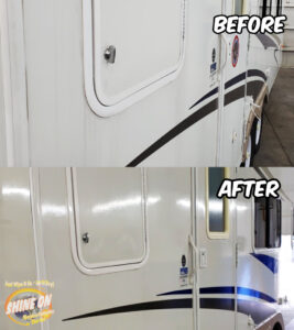Side of RV Before and After SHINE ON Application
