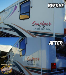 SunFlyer Motorhome Before and After SHINE ON Application