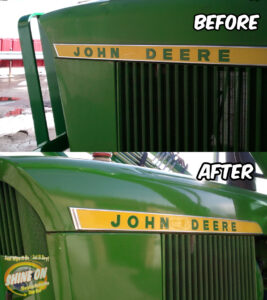 Tractor Restoration Before and After SHINE ON Application.
